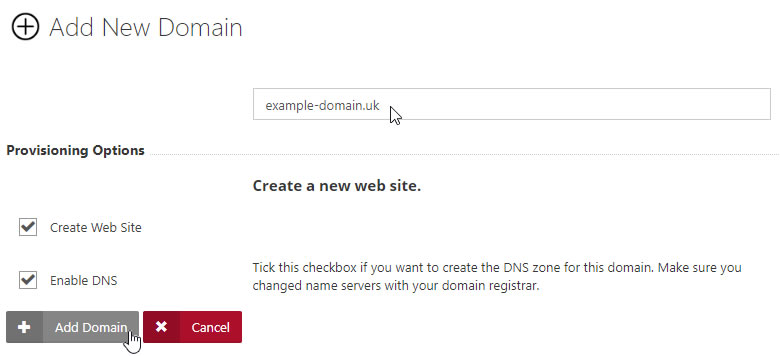 Enter Domain and select Options