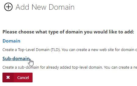 Add Sub Domain