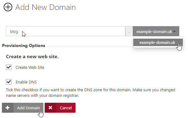 Enter Sub Domain and select Options