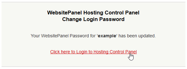 Changed Password Confirmation of Password change