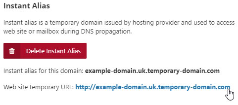 Temporary Domain is displayed