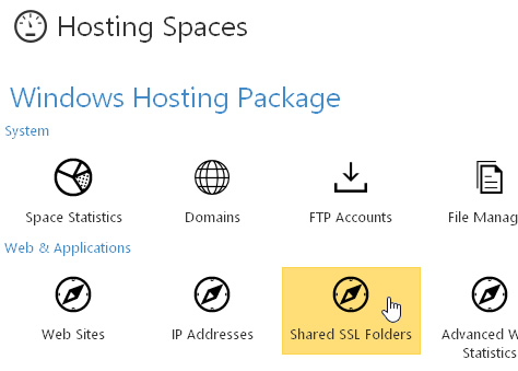 Hosting Spaces Shared SSL Folders Icon