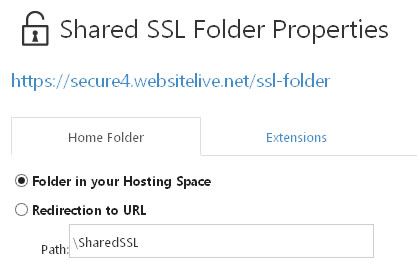 Shared SSL Folder Properties