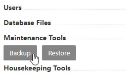 Maintenance Tools - Backup