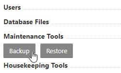Maintenance Tools - Backup