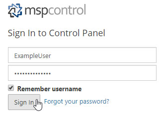 Sign In to Control Panel