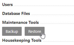 Maintenance Tools - Restore