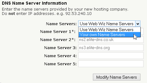 Modify Name Servers - Your own Name Servers