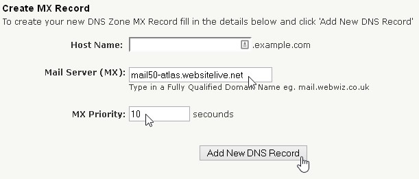 Create MX Record
