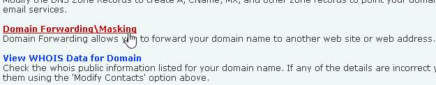 Domain Forwading Option