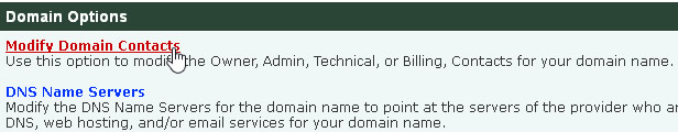 Modify Domain Contacts