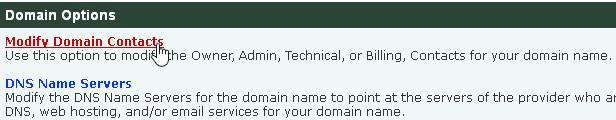 Modify Domain Contacts