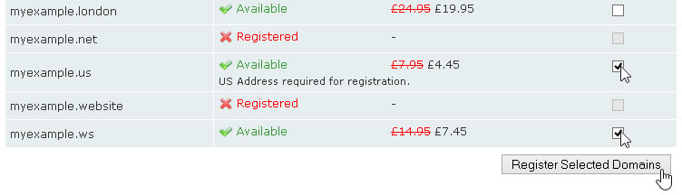 Register Selected Domains
