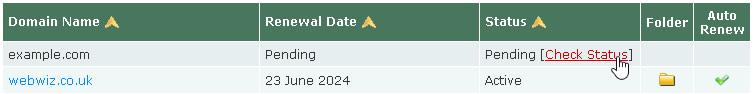 Domain Manager - Check Status