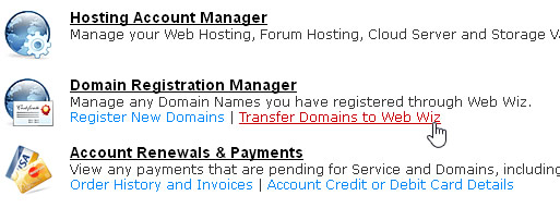 Transfer Domains to Web Wiz